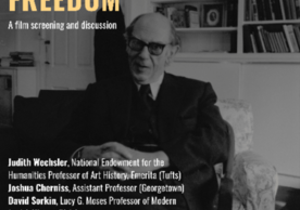 "event poster reading ""Isaiah Berlin: Philosopher of Freedom"" A film screening and discussion. Background image of Isaiah Berlin seated in a chair."