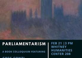 image is a poster with an impressionistic depiction of the Houses of Parliament; text below lists speakers, date, time and location for Parliamentarism book colloquium